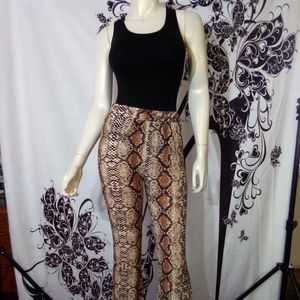 NWT- Snakeskin Pant w/ Figure Shaping Bodysuit